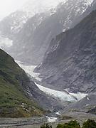 Franz Josef Glacier/Ka Roimata o Hine Hukatere, Westland/Tai Poutini National Park, New Zealand, on a rainy, dreary day