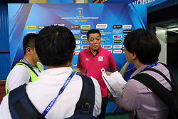 Japan head coach Manabe Masayoshi interview in mix zone