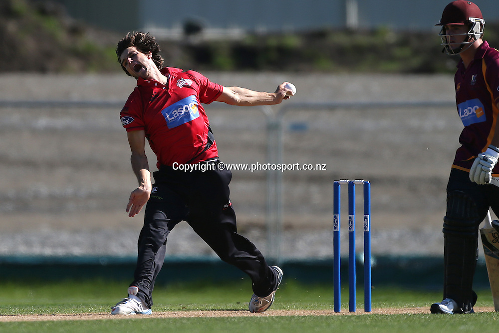 Ryan McCone of the Wizards bowling during the Ford Trophy cricket match between the Canterbury Wizards v Northern Knights at Hagley Oval, Christchurch. 26 March 2014 Photo: Joseph Johnson/www.photosport.co.nz
