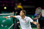 Mariusz Fyrstenberg of Poland competes at men's double game during the BNP Paribas Davis Cup 2014 between Poland and Croatia at Torwar Hall in Warsaw on April 5, 2014.<br /> <br /> Poland, Warsaw, April 5, 2014<br /> <br /> Picture also available in RAW (NEF) or TIFF format on special request.<br /> <br /> For editorial use only. Any commercial or promotional use requires permission.<br /> <br /> Mandatory credit:<br /> Photo by &copy; Adam Nurkiewicz / Mediasport
