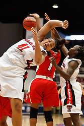 March 19, 2011; Stanford, CA, USA; Texas Tech Lady Raiders forward Kelsi Baker (41) is unable to grab a rebound from St. John's Red Storm guard Sky Lindsay (back) during the second half of the first round of the 2011 NCAA women's basketball tournament at Maples Pavilion. St. John's defeated Texas Tech 55-50.