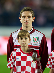 OSIJEK, CROATIA - Tuesday, October 16, 2012: Wales' Joe Allen lines-up before the Brazil 2014 FIFA World Cup Qualifying Group A match against Croatia at the Stadion Gradski Vrt. (Pic by David Rawcliffe/Propaganda)