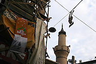 The minaret of an old mosque in Cihangir, near Taksim, Istanbul.