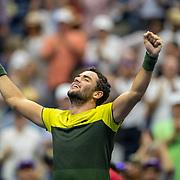 2019 US Open Tennis Tournament- Day Ten.  Matteo Berrettini of Italy celebrates his victory against Gael Monfils of France in the Men's Singles Quarter-Finals match on Arthur Ashe Stadium during the 2019 US Open Tennis Tournament at the USTA Billie Jean King National Tennis Center on September 4th, 2019 in Flushing, Queens, New York City.  (Photo by Tim Clayton/Corbis via Getty Images)