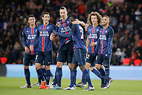 Jean-Kevin Augustin (psg) scored a goal, Layvin Kurzawa (psg), Zlatan Ibrahimovic (psg), Angel Di Maria (psg), David Luiz Moreira Marinho (psg), Maxwell Scherrer Cabelino Andrade (psg), Blaise Mathuidi (psg), Thiago Emiliano da Silva (psg), Gregory Van Der Wiel (psg) during the French Championship Ligue 1 football match between Paris Saint Germain and ES Troyes AC on November 28, 2015 at Parc des Princes stadium in Paris, France. Photo Stephane Allaman / DPPI