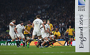 England's Scrum Half Ben Youngs defending another Australian attack during the Rugby World Cup Pool A match between England and Australia at Twickenham, Richmond, United Kingdom on 3 October 2015. Photo by Matthew Redman.