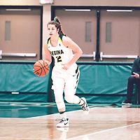 4th year guard, Michaela Kleisinger (2) of the Regina Cougars during the Women's Basketball Home Game on Fri Nov 02 at Centre for Kinesiology,Health and Sport. Credit: Arthur Ward/Arthur Images