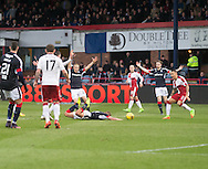 Penalty claim as Dundee&rsquo;s Mark O&rsquo;Hara is downed - Dundee v Rangers in the Ladbrokes Scottish Premiership at Dens Park, Dundee.Photo: David Young<br /> <br />  - &copy; David Young - www.davidyoungphoto.co.uk - email: davidyoungphoto@gmail.com