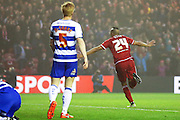 Middlesbrough midfielder Emilio Nsue (24) scores a goal and celebrates to make the score 1-0 during the Sky Bet Championship match between Middlesbrough and Reading at the Riverside Stadium, Middlesbrough, England on 12 April 2016. Photo by Simon Davies.