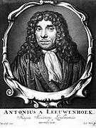 Anton von Leeuwenhoek (1632-1723). Dutch microscopist. Portrait engraving from his 'Arcana naturae detecta', Delft, 1723.