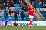Barnsley forward Cauley Woodrow (9) scores a goal (0-2) and celebrates  during the EFL Sky Bet League 1 match between Gillingham and Barnsley at the MEMS Priestfield Stadium, Gillingham, England on 9 February 2019.