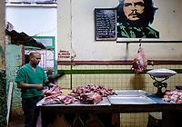 HAVANA, CUBA - CIRCA JANUARY 2020: Portrait of a butcher in  Havana.