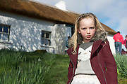 28/03/2016 Blaithin ni Mhainnin Pictured at Pearse's Cottage, Teach an Phiarsaigh, in Rosmuc in Connemara during a special broadcast of RT&Eacute; Raidi&oacute; na Gaeltachta programme Adhmhaidin on Easter Monday 28 March 2016.  <br /> <br /> Patrick Pearse used the cottage as a summer house, and also as summer school for his pupils from St Enda&rsquo;s school in Dublin.  He was inspired by the people and the culture of the area, and it is said that he composed the graveside oration he gave at O&rsquo;Donovan Rossa&rsquo;s funeral in 1915 there.<br /> <br /> The broadcast was to commemorate the centenary of the Easter Rising, and also marked 30 years on air for the programme.  <br /> Photo:Andrew Downes, xposure.