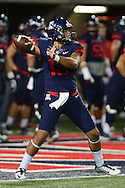 TUCSON, AZ - NOVEMBER 14: Quarterback Anu Solomon #12 of the Arizona Wildcats throws the football during warm ups prior to the game against the Utah Utes at Arizona Stadium on November 14, 2015 in Tucson, Arizona.  (Photo by Jennifer Stewart/Getty Images)