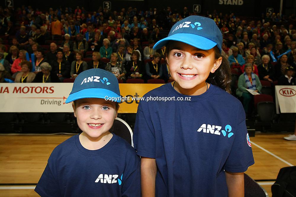 ANZ Future Captains Abbey Dermody, left, and Tegan Cross at the ANZ championship netball match, Steel v Pulse, ILT Stadium Southland, Invercargill, New Zealand, Monday, April 14, 2014. Photo: Dianne Manson / photosport.co.nz