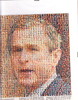 collage of George W. Bush as a War President, in a Dutch newspaper, using portraits of the dead American soldiers killed in Iraq - about 2005