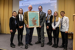 Pictured: John Swinney and Dr Michael Dempstre, Director of Scots Language Centre were joined by students Neave Mackie, Jocyln Meek, Maya Burns, Holly o'Sullivan and Alex Cook<br />