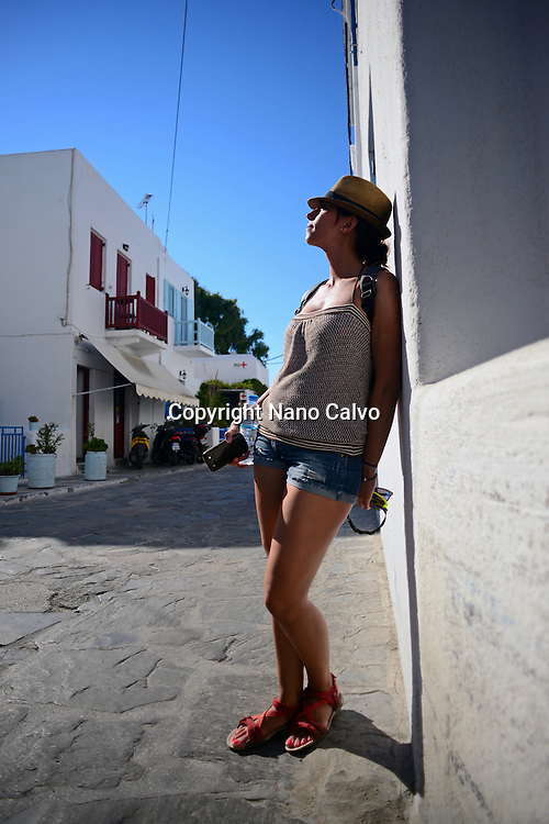 Attractive young woman in Mykonos, Greece