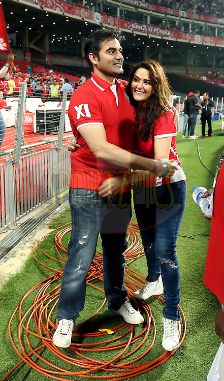 Actor Arbaaz Khan and Preity Zinta owner of Kings XI Punjab during match 10 of the Pepsi IPL 2015 (Indian Premier League) between The Kings XI Punjab and The Delhi Daredevils held at the MCA International Stadium in Pune, India on the 15th April 2015.<br /> <br /> Photo by:  Sandeep Shetty / SPORTZPICS / IPL