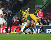 Australia's full back Israel Folau thinking he scored the 1st try of the game but it was disallowed due to an earlier penalty  during the Rugby World Cup Pool A match between England and Australia at Twickenham, Richmond, United Kingdom on 3 October 2015. Photo by Matthew Redman.