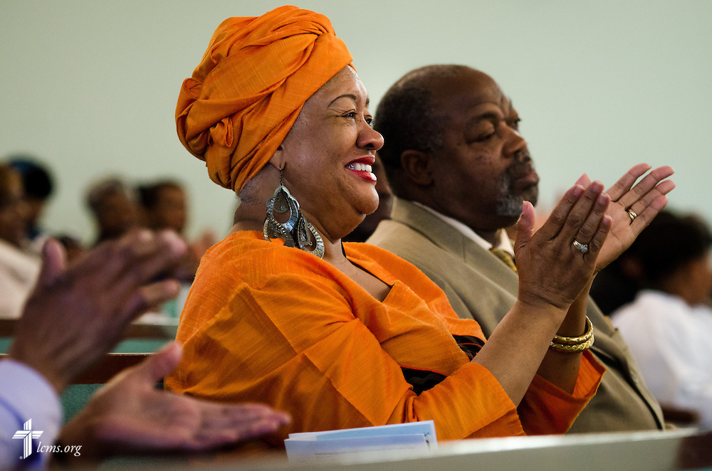 Leevones Fisher and her husband Mike Fisher listen to the Rev. Ulmer Marshall deliver his sermon during worship at Trinity Lutheran Church Sunday, April 6, 2014, in Mobile, Ala. LCMS Communications/Erik M. Lunsford