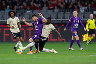 PERTH, AUSTRALIA - JULY 13: Perth Glory forward Bruno Fornaroli (10) is fouled by Manchester United defender Axel Tuanzebe (38) during the International soccer match between Manchester United and Perth Glory on July 13, 2019 at Optus Stadium in Perth, Australia. (Photo by Speed Media/Icon Sportswire)