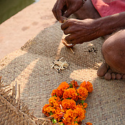 Lighting a lamp to offer to the Ganges