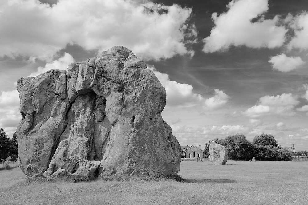 Large Neolithic Stones - Avebury, UK - Infrared Black & White