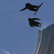 in action in the Halfpipe Finals during The North Face Freeski Open at Snow Park, Wanaka, New Zealand, 3rd September 2011. Photo Tim Clayton...
