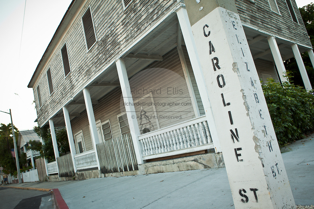 Older home along Caroline Street in Key West, Florida