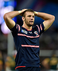 John Quill of the USA looks dejected after his team concede a try - Mandatory byline: Patrick Khachfe/JMP - 07966 386802 - 07/10/2015 - RUGBY UNION - The Stadium, Queen Elizabeth Olympic Park - London, England - South Africa v USA - Rugby World Cup 2015 Pool B.