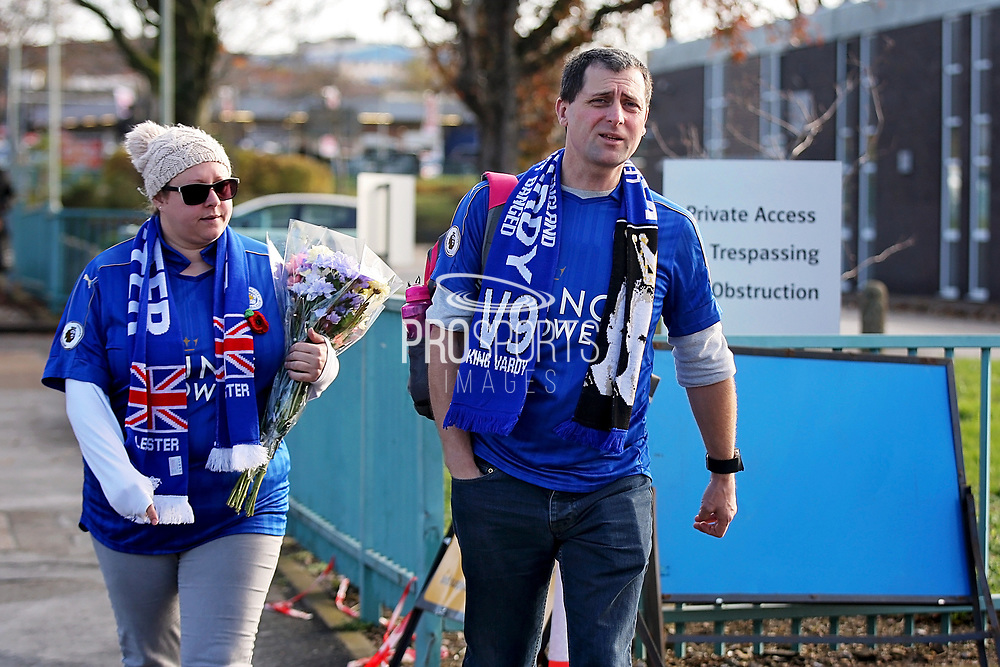 Foxes fans arriving at The King Power Stadium with flowers before the Premier League match between Leicester City and Burnley at the King Power Stadium, Leicester, England on 10 November 2018.