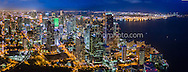 Miami skyline aerial panorama showing Brickell area at twilight viewed looking North. This version is watermarked, contact us to license and clean version.
