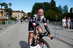 Leah Kirchmann (CAN) makes her way to the podium at Giro Rosa 2018 - Stage 1, a 15.5 km team time trial in Verbania, Italy on July 6, 2018. Photo by Sean Robinson/velofocus.com