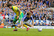 Bradley Johnson fouls Jay Tabb during the Sky Bet Championship Play Off First Leg match between Ipswich Town and Norwich City at Portman Road, Ipswich, England on 9 May 2015. Photo by Simon Davies.