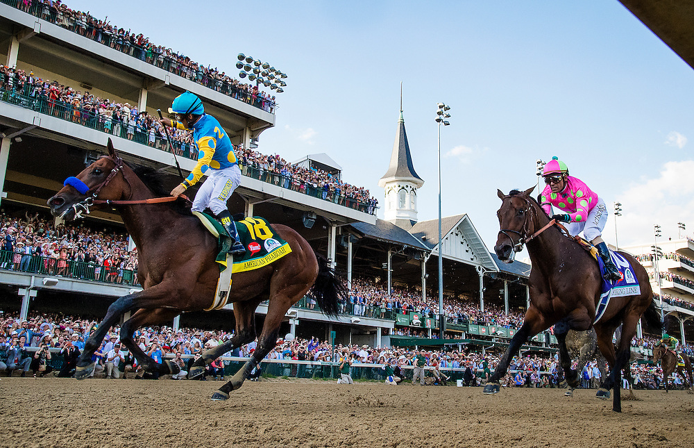 May 02, 2015: American Pharaoh with Victor Espinoza up defeats Firing Line and Gary Stevens to win the Kentucky Derby at Churchill Downs Louisville Ky. Alex Evers/ESW/CSM