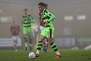 Forest Green Rovers Jordan Simpson(12) passes the ball during the Gloucestershire Senior Cup match between Forest Green Rovers and U23 Bristol City at the New Lawn, Forest Green, United Kingdom on 9 April 2018. Picture by Shane Healey.