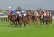 Ballet Concerto ridden by Ryan Moore (blue with yellow cap, blue spots) wins Betway Spring Mile Handicap Stakes during the Betway Lincoln meeting at Doncaster Racecourse, Doncaster<br /> Picture by Martin Lynch/Focus Images Ltd 07501333150<br /> 01/04/2017