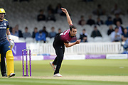 Lewis Gregory of Somerset Bowling during the Royal London One-Day Cup final  between Somerset County Cricket Club and Hampshire County Cricket Club at Lord's Cricket Ground, St John's Wood, United Kingdom on 25 May 2019.