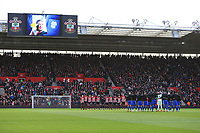 Football - 2018 / 2019 Premier League - Southampton vs. Cardiff City<br /> <br /> The two teams observe a minutes silence before kick off in in tribute to Emiliano Sala at St Mary's Stadium Southampton<br /> <br /> COLORSPORT/SHAUN BOGGUST