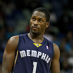 December 21, 2011; New Orleans, LA, USA; Memphis Grizzlies point guard Jeremy Pargo (1) against the New Orleans Hornets during a preseason game at the New Orleans Arena.   Mandatory Credit: Derick E. Hingle-US PRESSWIRE