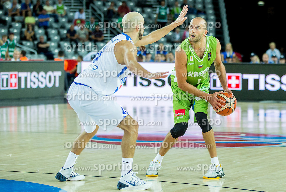 Nick Calathes of Greece vs Nebojsa Joksimovic of Slovenia during basketball match between Slovenia vs Greece at Day 5 in Group C of FIBA Europe Eurobasket 2015, on September 9, 2015, in Arena Zagreb, Croatia. Photo by Vid Ponikvar / Sportida
