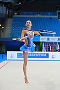 Kosoulieva Angela of Poland competes during the rhythmic gymnastics individual hoop qualification of the World Cup at Adriatic Arena on April 10, 2015 in Pesaro, Italy.<br />