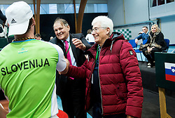 Grega Zemlja of Slovenia, Marko Umberger and Drago Zavrsnik after winning during Day 3 of the tennis matches between Slovenia and Monaco of 2017 Davis Cup Europe/Africa Zone Group II, on February 5, 2017 in Tennis Arena Tabor, Maribor Slovenia. Photo by Vid Ponikvar / Sportida