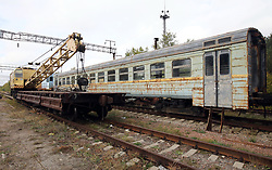 October 2, 2018 - Chornobyl Exclusion Zone, Kyiv R, Ukraine - Decaying rolling stock is seen on the tracks at the abandoned Yaniv railway station in the Chornobyl (Chernobyl) Exclusion Zone, Kyiv Region, northern Ukraine, October 2, 2018. Ukrinform. (Credit Image: © Tarasov/Ukrinform via ZUMA Wire)