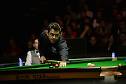 19.02.2016. Cardiff Arena, Cardiff, Wales. Bet Victor Welsh Open Snooker. Mark Selby versus Ronnie O'Sullivan. Ronnie O'Sullivan pots the pink.