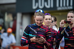 Hannah Barnes (GBR) of CANYON//SRAM Racing before the sign-on before the Fleche Wallonne Femme - a 118.5 km road race, starting and finishing in Huy on April 24, 2019, in Liege, Belgium. (Photo by Balint Hamvas/Velofocus.com)