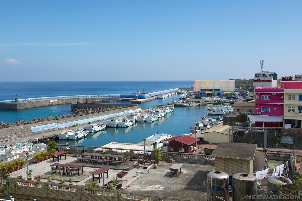 Baishawei Tourist Harbor, on Little Liuqiu Island, Taiwan, as seen from the Tourist Information Office.
