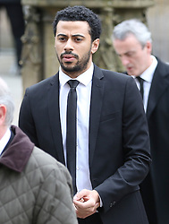 © Licensed to London News Pictures . 18/03/2016 . Manchester , UK . Dean Fegan arrives at the service. Television stars and members of the public attend the funeral of Coronation Street creator Tony Warren at Manchester Cathedral . Photo credit : Joel Goodman/LNP
