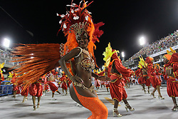 Members of a samba school take part in the first night of the parade of samba schools of the Carnival, in the Sambadrome, in Rio de Janeiro, Brazil, on Feb. 13, 2015. EXPA Pictures © 2015, PhotoCredit: EXPA/ Photoshot/ [e]ae<br /> <br /> *****ATTENTION - for AUT, SLO, CRO, SRB, BIH, MAZ only*****